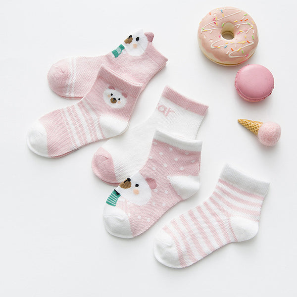 5Pairs Baby Girls Thin Summer Mesh Socks