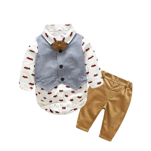 Baby Boys 3Pcs Pants Set with Vest and Bowtie