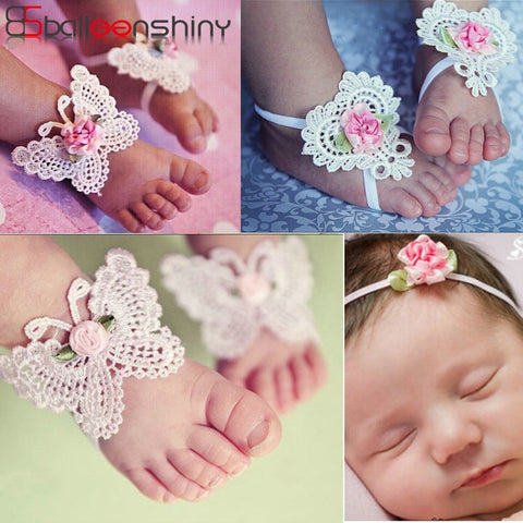 3PCS Baby Girls Barefoot Sandals Hair Foot Accessories
