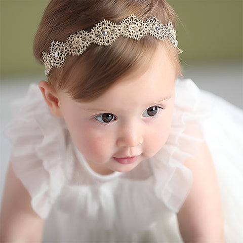Baby Girls Bow Pearl Lace Headband
