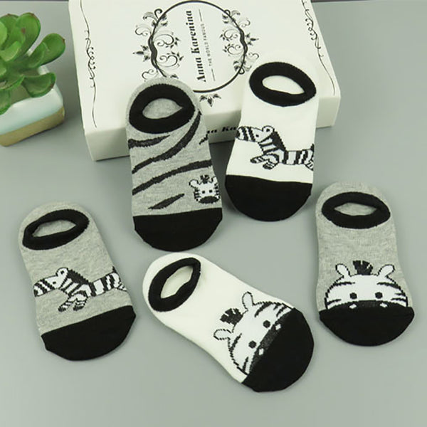 5 Pair Animal Print Baby Socks