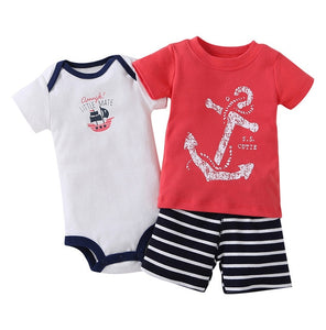Baby Boy Set Cartoon Anchor T-shirt+shorts+romper  outfits