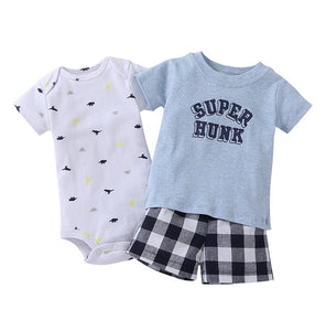 Baby Boy Set Cartoon Super Hunk T-shirt+shorts+romper outfits