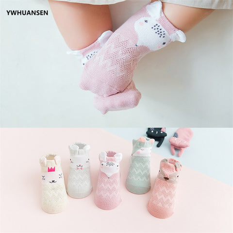 Baby Girl Cute Cartoon 5 Pairs Summer Mesh Socks