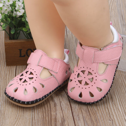 Baby Girls Summer Cut-Out  Leather Sandals
