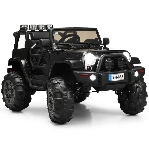 12V Kids Remote Control Riding Truck Car with LED Lights-Black C283