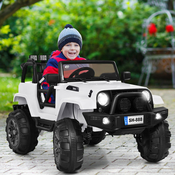 12V Kids Remote Control Riding Truck Car with LED Lights-White C285