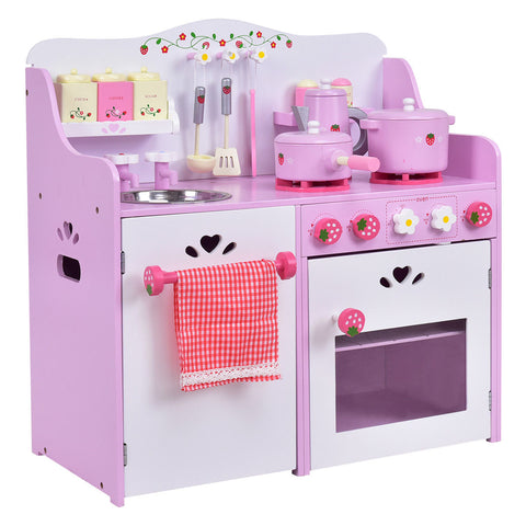 Kids Wooden Kitchen Toy Strawberry Pretend Cooking Playset C139