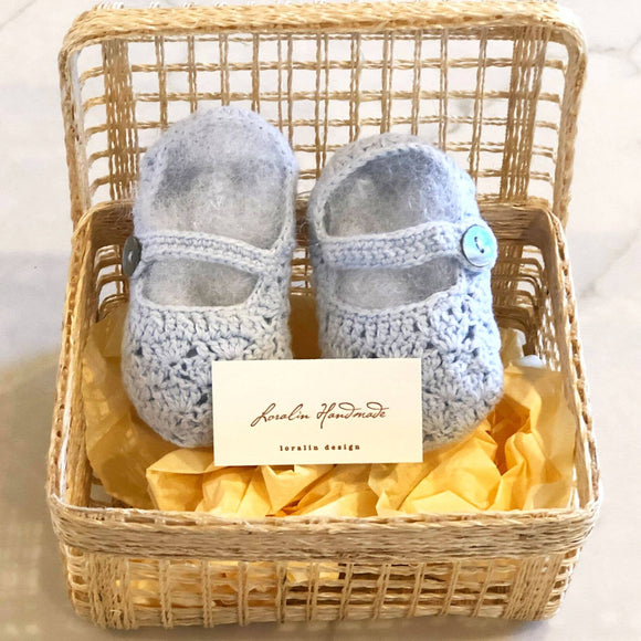 Light Blue Mary Jane Crochet Baby Booties in Basket