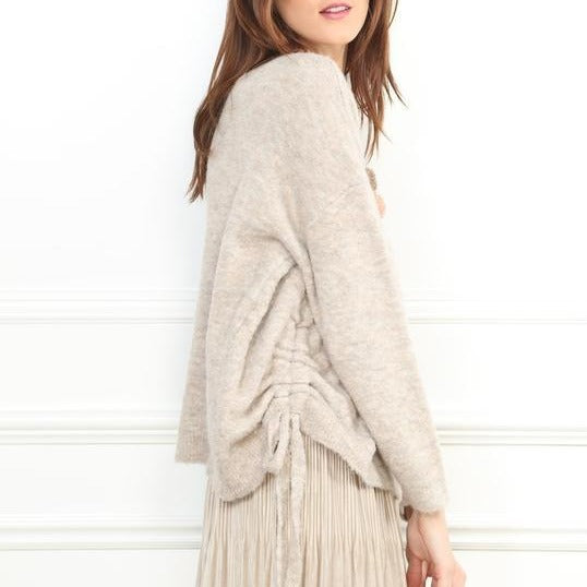 Beaded Flower Ruched Sweater