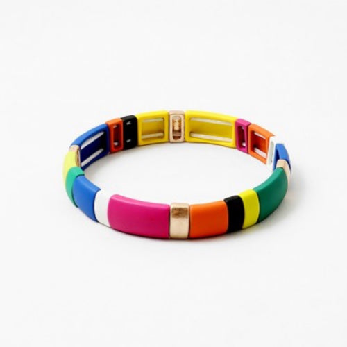 Rainbow Mondrian Stretch Bracelet