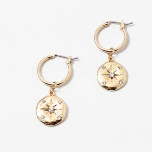 Gold Coin Starburst Earrings
