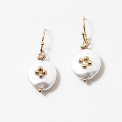 Pearl & Gold Coin Earrings