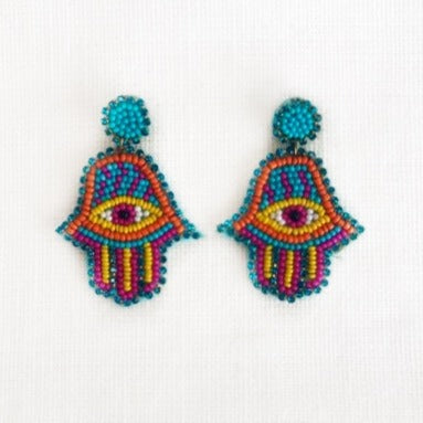 Beaded Hasma Earring