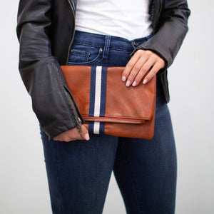 preppy stripe foldover clutch