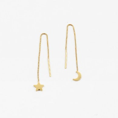 Gold Star & Moon Dangle Earrings