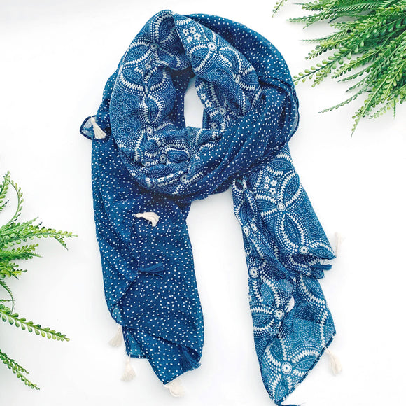 denim blue dot tassel scarf