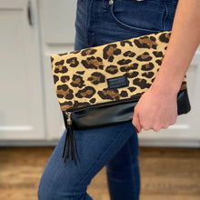 Load image into Gallery viewer, black leopard foldover clutch