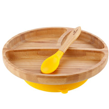 Load image into Gallery viewer, Toddler Bamboo Stay Put Suction Plate + Spoon