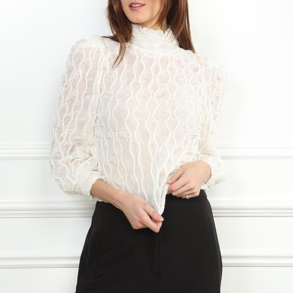 sheer mock turtleneck