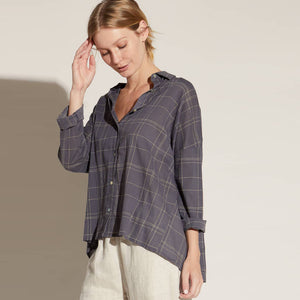 shirred coal grid button down