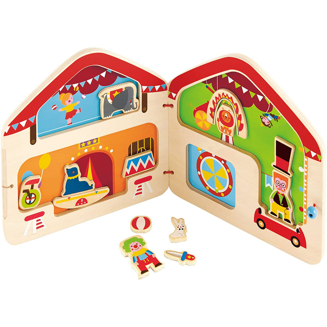 Big Top Circus Kid's Wooden Magnetic Travel Book with Accessories