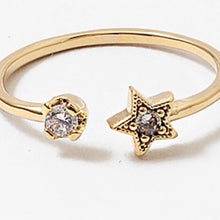 Load image into Gallery viewer, Gold Star Stoned Wrap Ring