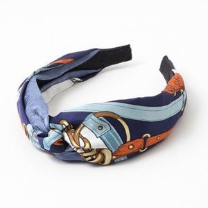 Fabric Knot Navy Link Headband