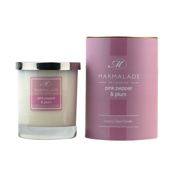 Pink Pepper & Plum Glass Candle