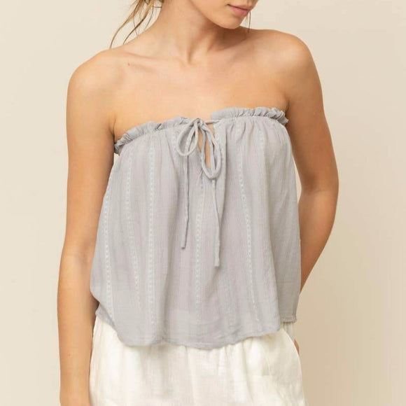 Slate Drawstring Tube Top