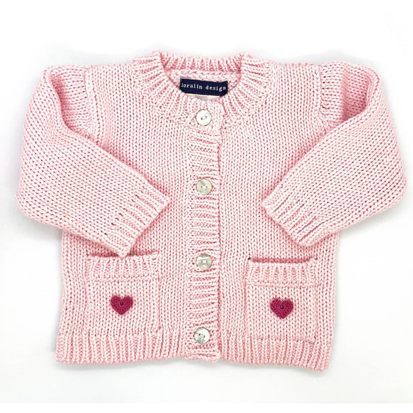 Pink Crocheted Heart Cardigan 0-12 months