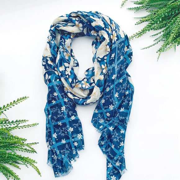 denim blue floral tassel scarf