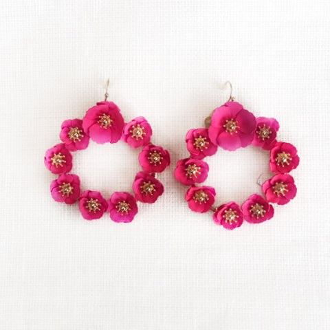 Fuscia Magnolia Earrings
