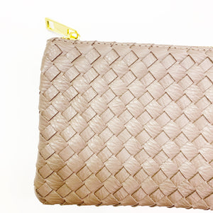 Woven Vegan Leather Crossbody Clutch