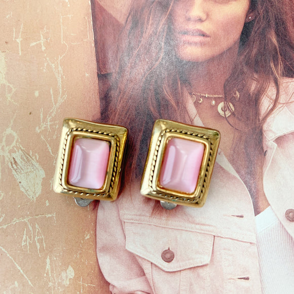 Pink Chunky Vintage Clip-On Earrings