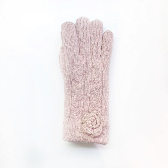 Cable Knit Rose Gloves