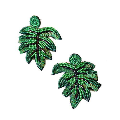 Palm Leaf Beaded Earrings