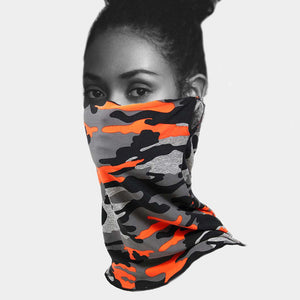 Orange Camo Necker Mask