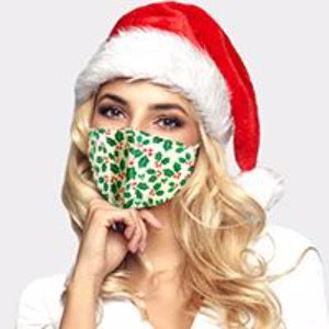 white & green holly face mask