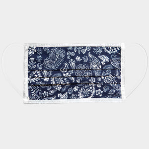 Chic Navy Paisley Cotton Mask