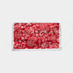 Chic Red Paisley Cotton Mask