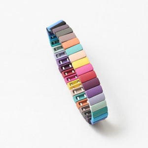 Rainbow Chiclet Bracelet (cool deep tones)