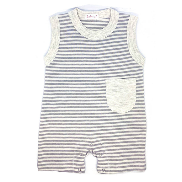 6-12 Months Grey Striped Romper