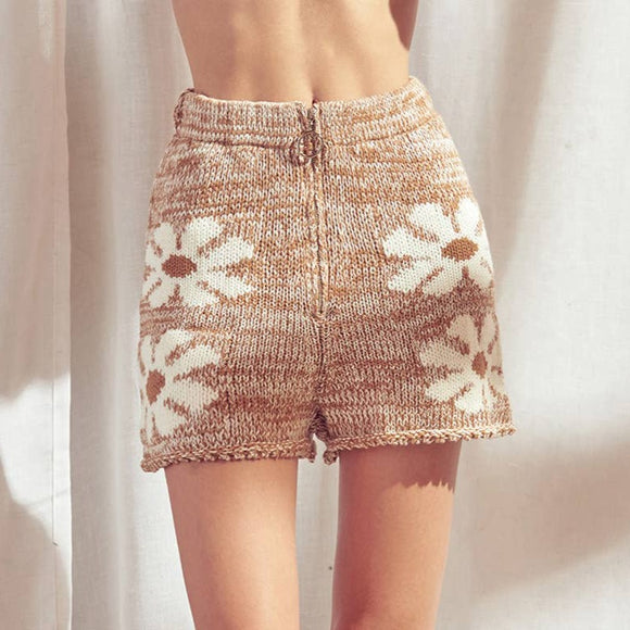 Daisy Brown Knit Shorts