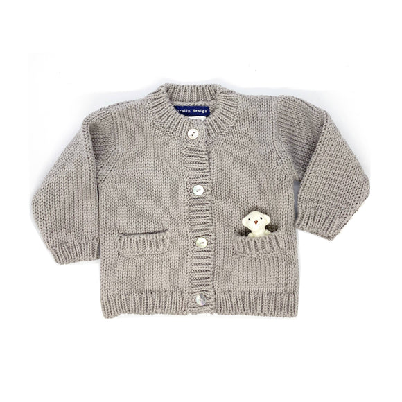 Grey Bear Cardigan 0-6 Months
