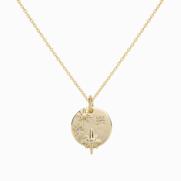Starry Night Gold Medallion Necklace