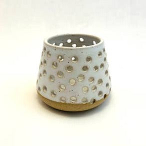 Perforated White Candle Holder