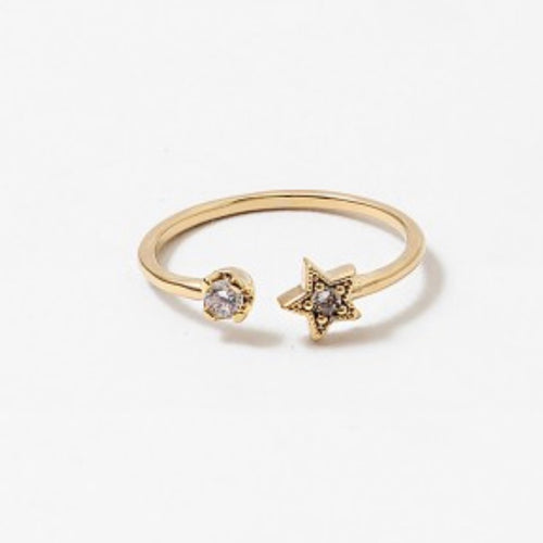 Gold Star Stoned Wrap Ring