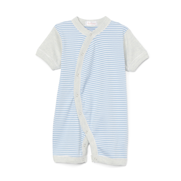 6 Months Blue Stripe Heather Grey Romper