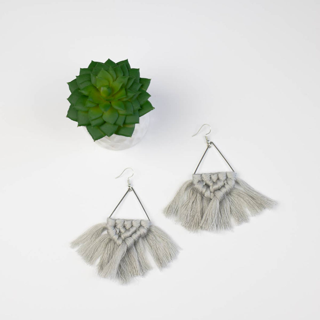 silver grey macrame boho earrings